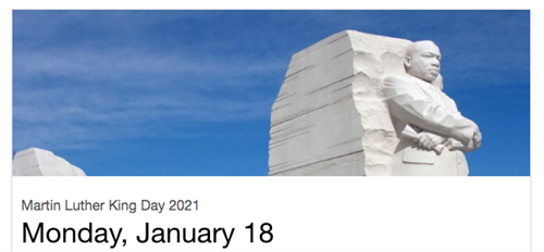 Martin Luther King statue and Holiday reminder