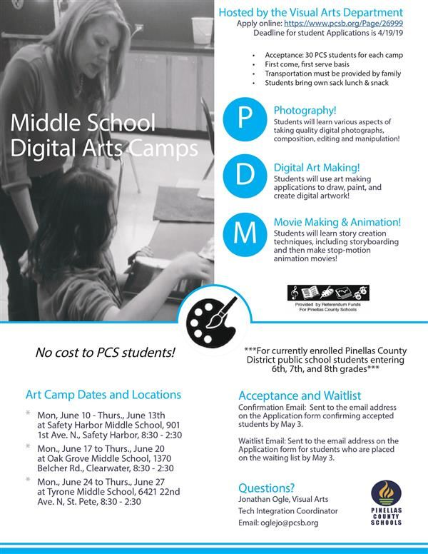 FREE Summer Middle School Digital Arts Program