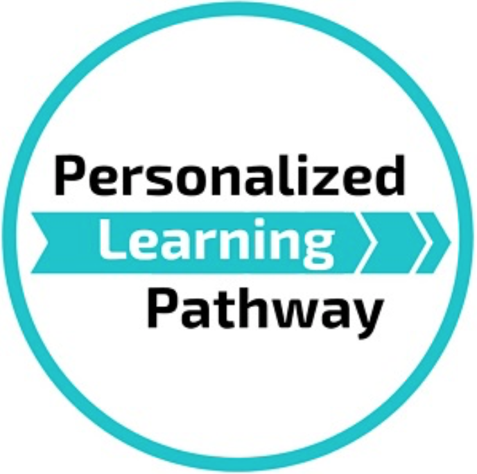 Personalized Learning Pathway Icon-Blue circle with words inside