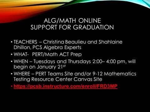 ALG/MATH Online Support For Graduation