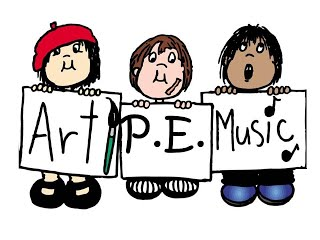 Art, PE, Music sign with students
