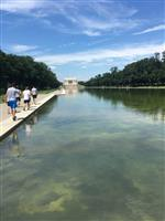 JROTC students walking by the DC reflecting pool