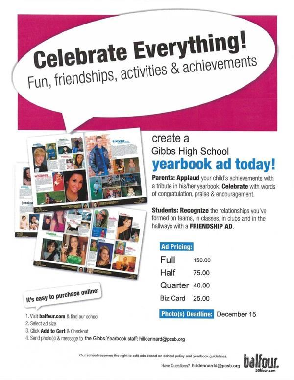 Create a yearbook ad today. Go to balfour.com for more details.
