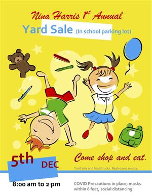 happy kids displayed on yellow flier for NH 1st annual yard sale