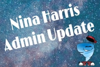 nina harris admin update with cartoon hurricane kid and galaxy stars in background