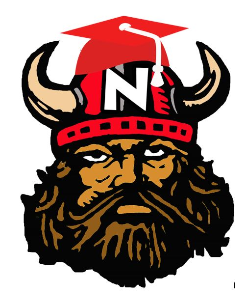 Northeast Viking with graduation cap.