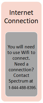 Internet Connection: you will need to use Wifi to connect.  Need a connection?  Contact Spectrum at 1-844-488-8395.