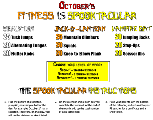 Fitness is Spooktacular Flyer-Follow the activities for the month of October!