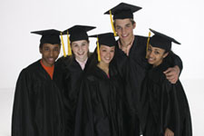 Students wearing caps and gowns for graduation