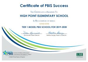 Certificate of PBIS Success: Gold Level for 2019-2020