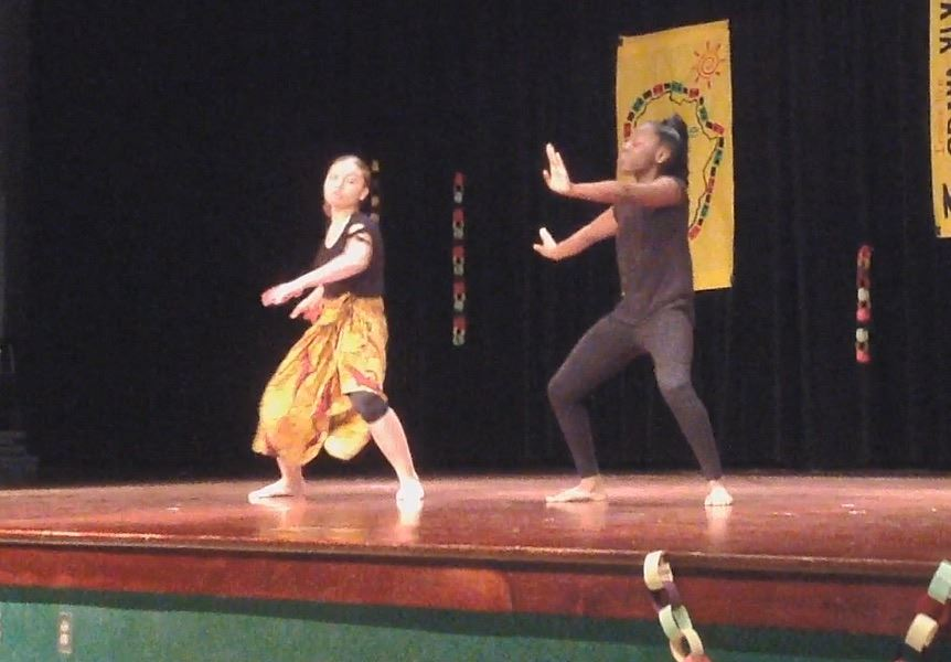 Jalyssa Ross - JHT Staff - Eighth graders Lazaria Taylor Lamiyah Mack perform expressive dances.