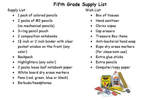 Fifth Grade Supply Lists