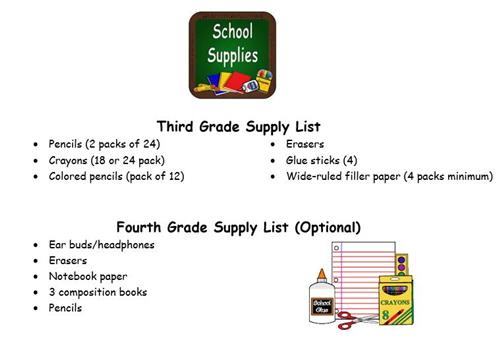 Third and Fourth Grade Supply Lists
