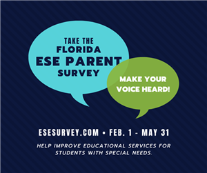 Take the Florida ESE Parent Survey graphic