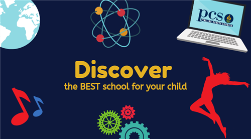 Discover the best school for your child image with globe, laptop, musical notes, energy sign, gears and dancer