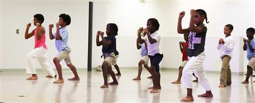 Students at Campbell Park Elementary demonstrate karate.