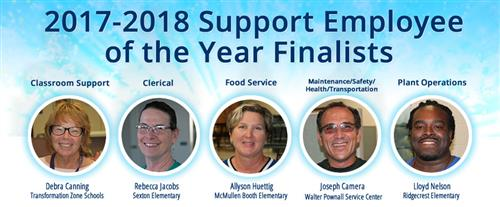 2017-18 Support Employee of the Year finalists