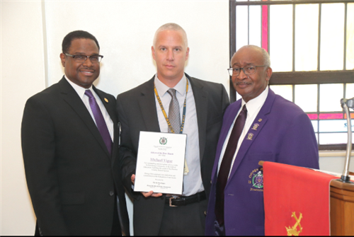 Principal Vigue was awarded the Omega Psi Phi Citizen of the Year.