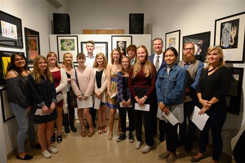 Student artists at the 2019 Word and Image Exhibition