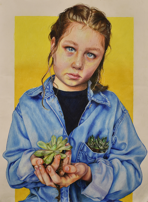 "Charlotte Bayly of Clearwater High won the prestigious Best in Show for her color pencil artwork, ""Desperation."""