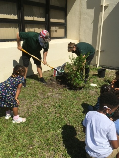 Bay Vista Fundamental students work in the school's garden.