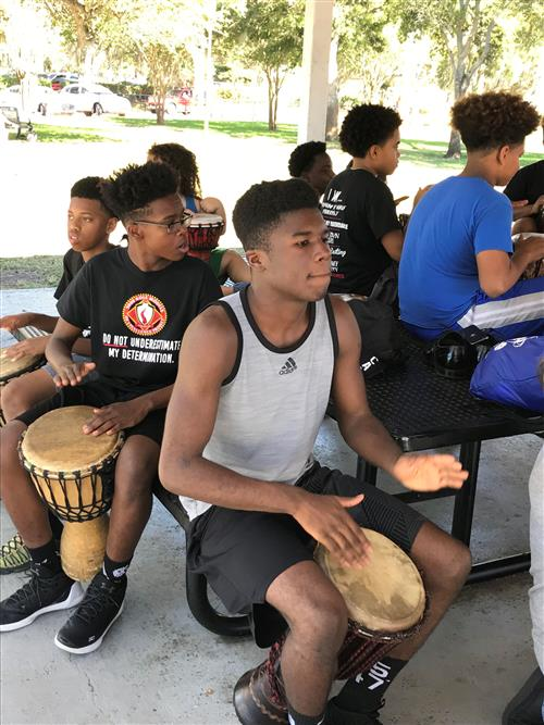 Safety Harbor Middle students drumming.