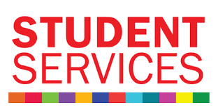 Red Text, Student Services in All Caps.
