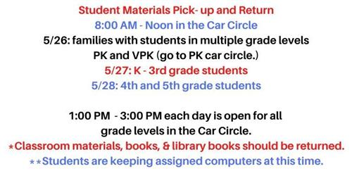 Student Material Pick-up and Return