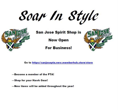 San Jose Spirit Shop is open- you can get t-shirts and PTA memberships!