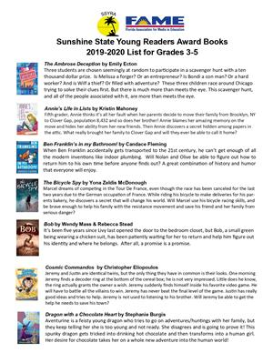 Book List 2020.Sunshine State Young Readers Book List 2019 2020