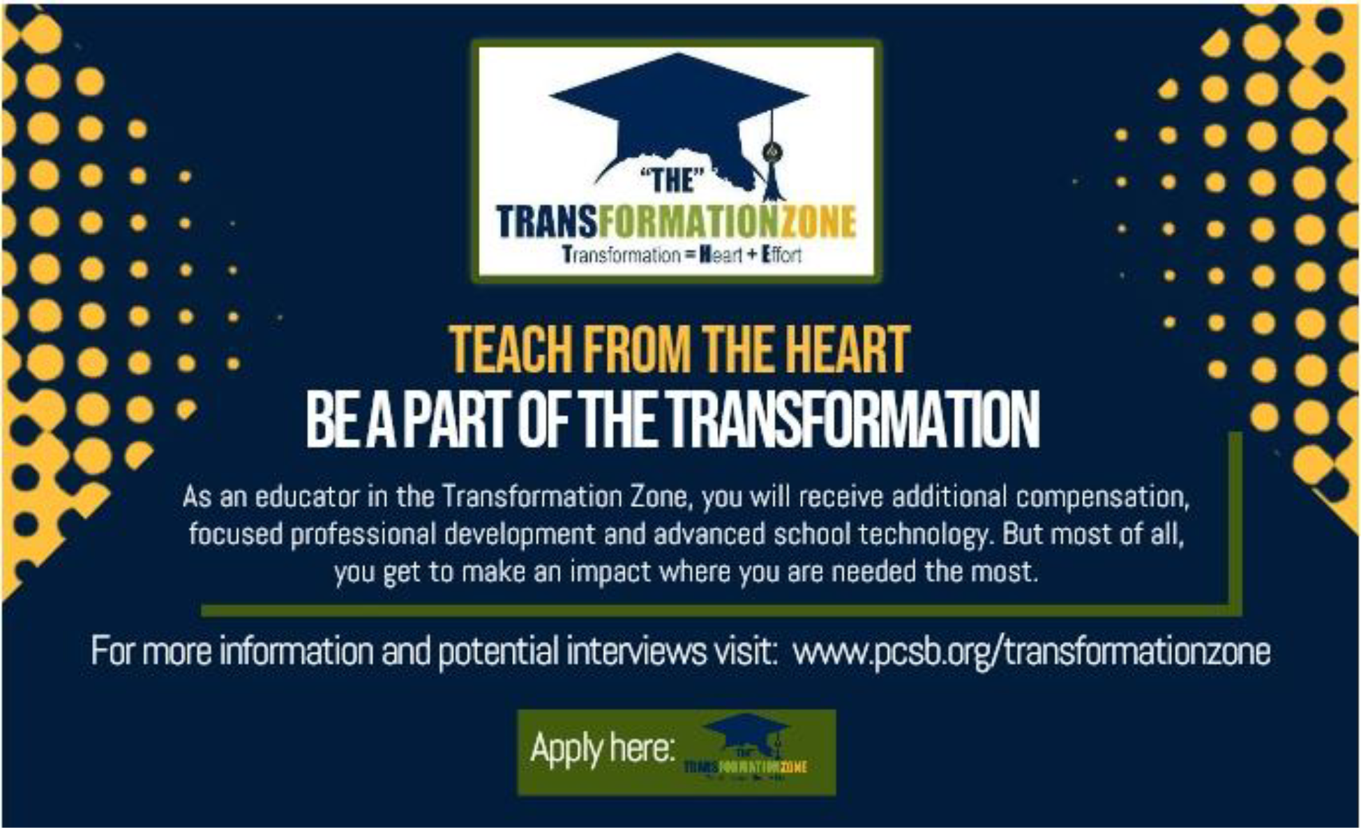 Be a part of the transformation - For more information and potential interviews  - Apply Now