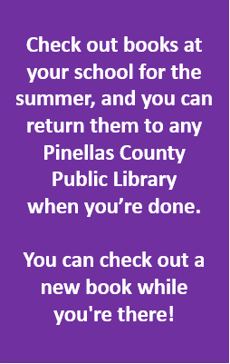 purple background with white text that says you can return books from your student's school to the public library