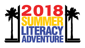 Black palm trees with the words 2018 Summer Literacy Adventure inside.