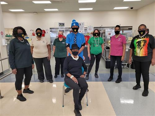 Cafeteria staff celebrating Black History Month