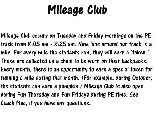 Mileage Club Information