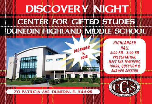 Discovery Night December 5th at 6pm