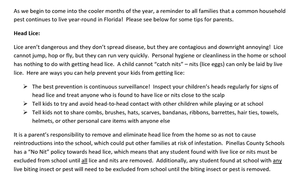 Important message from the School District regarding LICE.
