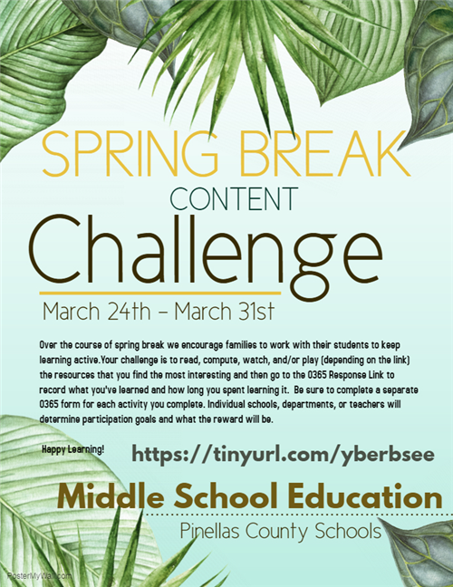Spring break challenge flyer