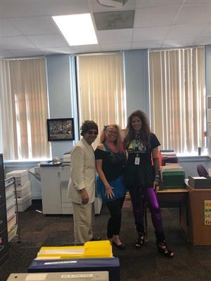 Principal Ovalle, Ms. Wike, and Mrs. Carlson ready for the FSA Rock Show