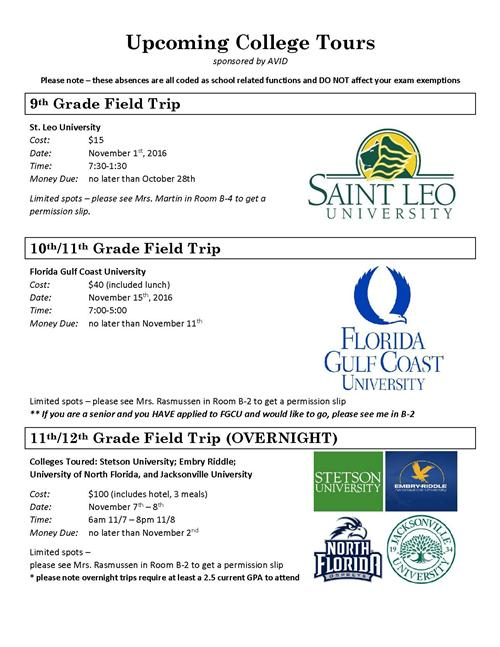 Upcoming College Tours